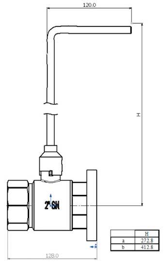"""2"""" Basin Ball Valve Drawing"""