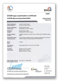 DVGW Licence DW 8501CN0307 for UltraSlide fittings