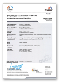 DVGW Licence DW 8501CN0308 for UltraSlide fittings